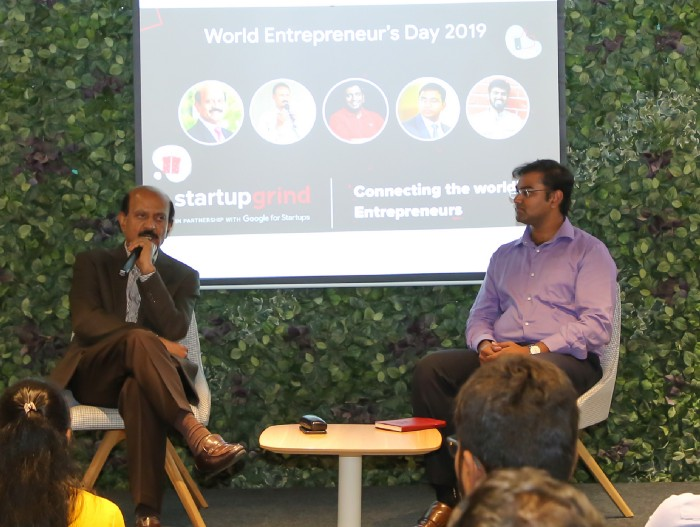BVR Mohan Reddy with Yashwanth Tudimilla, Host and Co-Director of Startup Grind Hyderabad